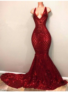 2021 Charming Red V Neck Mermaid Sequence Backless Long Prom Dresses