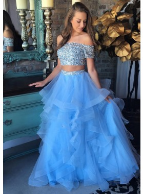 2021 Cheap A Line Tulle Off Shoulder Two Pieces Sequence Blue Prom Dresses