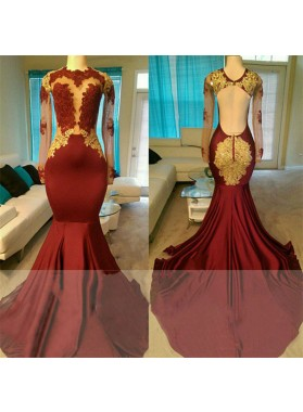 2020 New Arrival Mermaid Burgundy Long Sleeves Backless Gold Appliques Prom Dresses