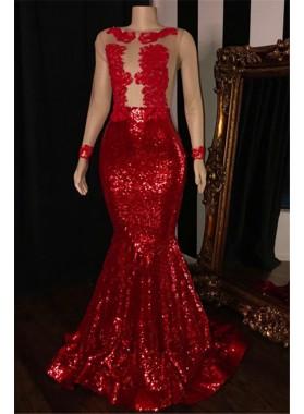 2021 Elegant Red Mermaid Sequence Long Sleeves Scoop See Through Prom Dresses