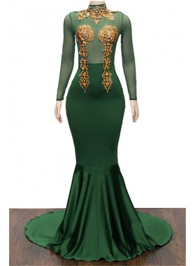 2021 Charming Hunter Long Sleeves High Neck Gold Appliques Prom Dresses
