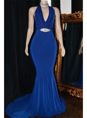 2021 Sexy Royal Blue Mermaid Halter Beaded V Neck Prom Dresses