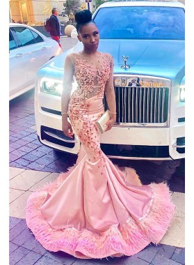 2021 Charming Pink Satin Long Sleeves Scoop Beaded Feathers Long Prom Dresses
