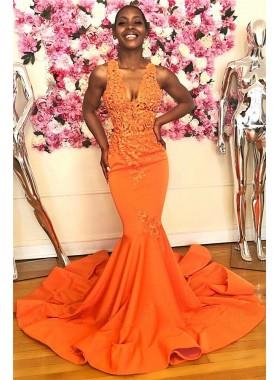 2021 Charming Satin V Neck Orange Beaded Halter Long Backless Prom Dresses