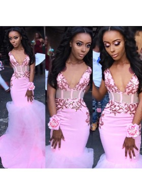 2021 Sexy Pink V Neck Tulle Prom Dresses Lace