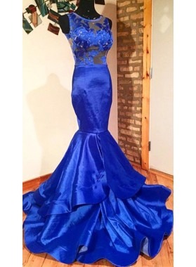 2021 New Arrival Mermaid Elastic Satin Royal Blue Lace Prom Dresses