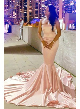 2021 Cheap Strapless Elastic Satin Pink Long Prom Dresses