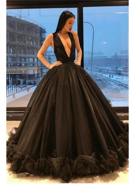 2021 New Arrival Ball Gown Deep V Neck Backless Black Prom Dresses