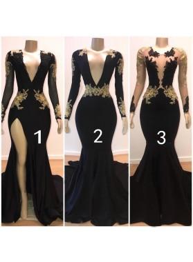 2021 Sexy Black Mermaid Long Sleeves V Neck Gold Appliques Prom Dresses