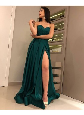 2021 Cheap A Line Sweetheart Teal Pleated Side Slit Prom Dresses