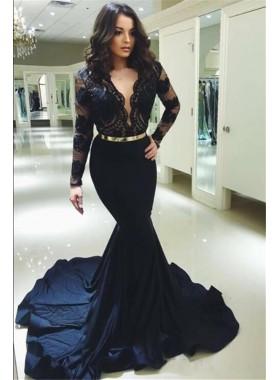 2021 Charming Black Mermaid Satin V Neck Long Sleeves Lace Prom Dresses