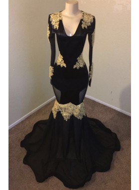2021 Sexy Black Mermaid Long Sleeves V Neck With Gold Appliques Prom Dresses