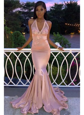 Sexy Satin Dusty Rose Halter Backless Embroidery Prom Dresses 2021