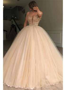 2021 Charming Sweetheart Tulle Champagne Beaded Ball Gown Prom Dresses