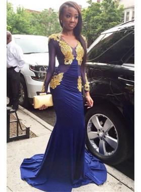 2021 Charming Sheath Royal Blue V Neck Long Sleeves Gold Appliques Prom Dresses