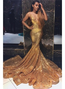 2021 Sexy Mermaid Gold Deep V Neck Sequence Long Prom Dresses