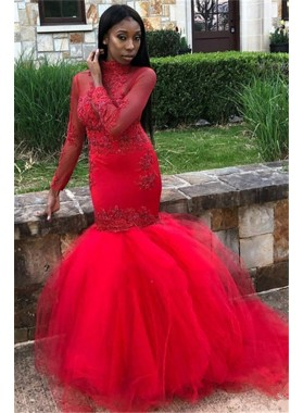 Cheap Mermaid Red Long Sleeves See Through High Neck Prom Dresses 2021 With Appliques