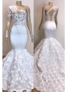 2021 New Arrival Mermaid One Shoulder Rose See Through Prom Dresses