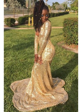 2021 Sexy Gold V Neck Sequence Mermaid Long Prom Dresses