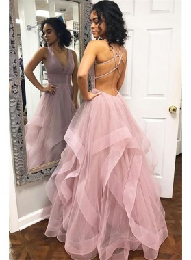 Cheap A Line Tulle Backless Dusty Rose V Neck Prom Dresses 2021