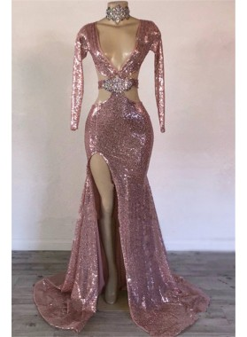2021 Sheath Pink Hollow Out Sequence V Neck Long Sleeves Beaded Prom Dresses
