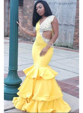 2021 New Arrival Mermaid Satin Yellow Beaded V Neck Hollow Out Prom Dresses