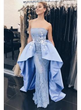 2021 Elegant Blue Satin Lace Sheath Straps Embroidery Prom Dresses