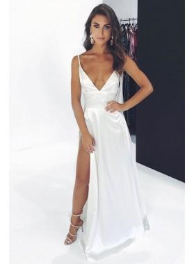 2021 Cheap A Line White V Neck Side Slit Spaghetti Straps Prom Dresses