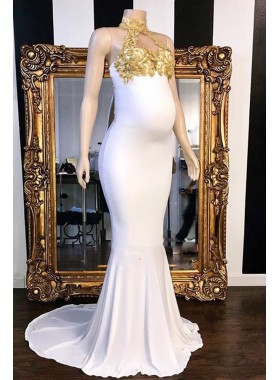 2021 Cheap Mermaid White Gold Appliques High Neck Prom Dresses