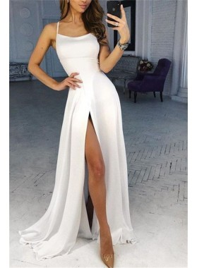 Cheap 2021 A Line White Side Slit Halter Prom Dresses