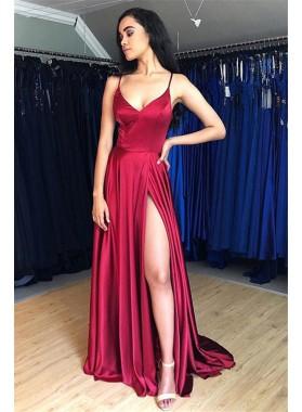 2021 Cheap A Line Burgundy Halter Backless Side Slit Prom Dresses