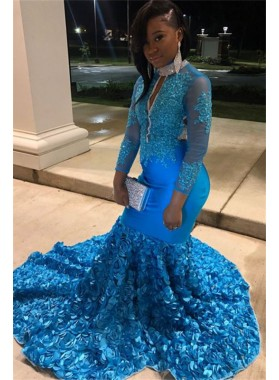 Charming Blue Mermaid Long Sleeves Rose V Neck Zipper Backless Long Prom Dresses 2021