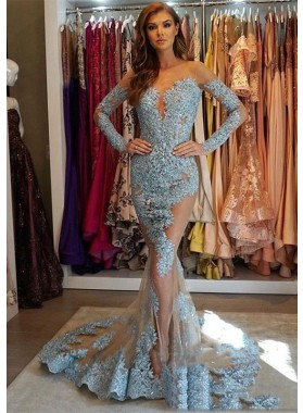 Amazing Mermaid Long Sleeves Tulle Backless Lace Blue Prom Dresses 2020