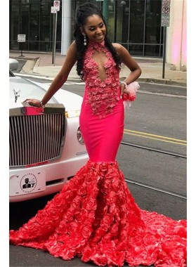 Sexy Mermaid Red Open Front Rose High Neck Prom Dresses 2020