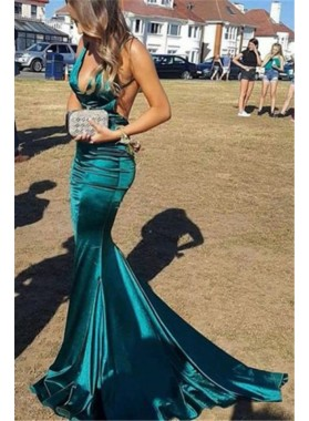 Charming Teal Elastic Satin Mermaid V Neck Backless Prom Dresses 2021
