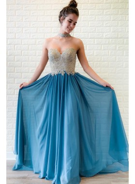 2020 New Arrival A Line Chiffon Sweetheart Blue Beaded Prom Dresses