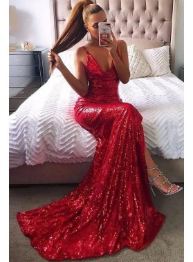 Sexy 2020 Red Mermaid Backless Sequence Side Slit Prom Dresses
