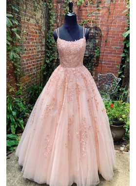 2020 New Arrival Tulle Blush Pink Ball Gown Prom Dresses With Appliques Lace Up
