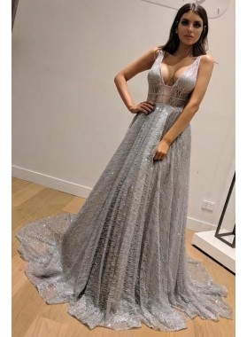 Charming A Line V Neck Silver Backless Lace Prom Dresses 2020