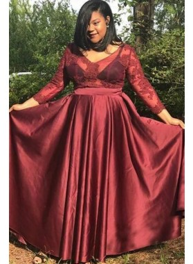 2020 Cheap A Line Burgundy Long Sleeves Lace V Neck Plus Size Prom Dresses