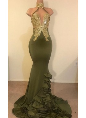 2020 New Arrival Mermaid High Neck Beaded Green Ruch Backless Prom Dresses