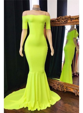 2021 Cheap Mermaid Short Sleeves Off Shoulder Lime Green Prom Dresses