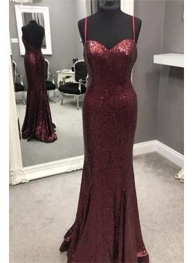 Charming Sheath Sweetheart Spaghetti Straps Burgundy Sequence 2021 Cheap Prom Dresses