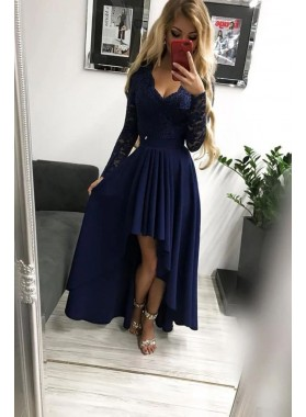 Cheap 2021 Dark Navy A Line Long Sleeves Lace High Low Prom Dresses