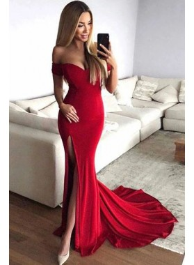 Sexy Red Off Shoulder Sheath Sweetheart Side Slit 2021 Prom Dresses