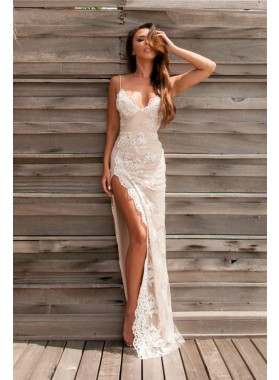 Sexy 2021 Sheath Spaghetti Straps Lace Backless Sweetheart Prom Dresses