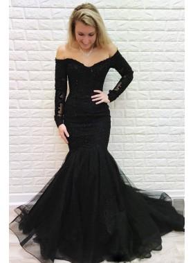 Sexy Black Mermaid Off Shoulder Long Sleeves Tulle 2021 Prom Dresses