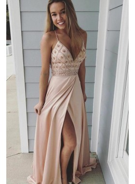 Cheap 2021 A Line Side Slit Blush Pink Beaded Sweetheart Spaghetti Straps Prom Dresses