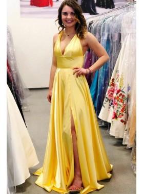 Cheap A Line Daffodil Side Slit Halter V Neck Backless 2021 Prom Dresses