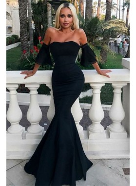 Sexy Mermaid Strapless Bell Sleeves Black Cheap Prom Dresses 2021